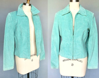 minted / 90s mint green suede zip up jacket / small medium