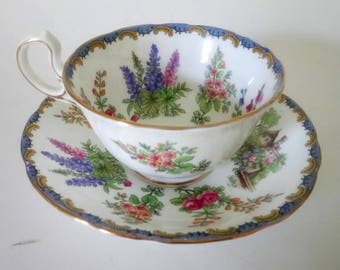Antique Aunsley Garden Gate Pattern Cup And Saucer 7 Available