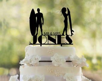 Surfers wedding Cake Topper- Custom Cake Topper- Beach Wedding Cake Topper- Silhouette surfers Cake Topper- Personalized surfers cake topper