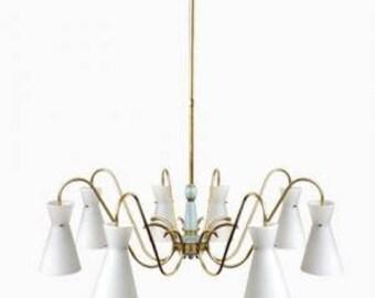 Mid-Century Italian Diabolo Chandelier, 1960's - Stilnovo Chandelier - Spider Chandelier - Brass Chandelier - Glass Chandelier - Vintage