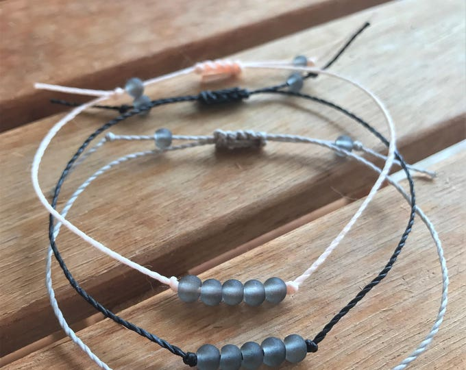 Adjustable Sea Glass Bracelet, Gray Sea Glass, Gray Sea Glass Jewelry, Summer Jewelry Ideas for Her, Summer Gift Ideas for Women, Sea Glass
