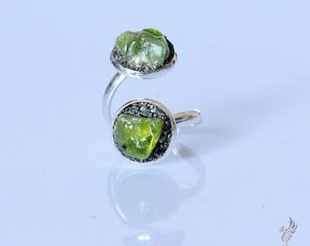 Raw Peridot Ring - August Birthstone Ring - Peridot Ring - Two Stone Ring - Gemstone Ring - August Birthstone Jewelry - Dual Stone Ring