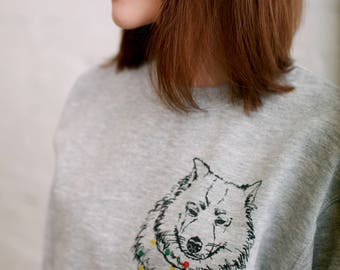 Samoyed drawing Eko-paint Paint Sweater Long sleeve Unisex dog Animal love Ekological Valentine's day gift Colorful Dog print sweatshirt