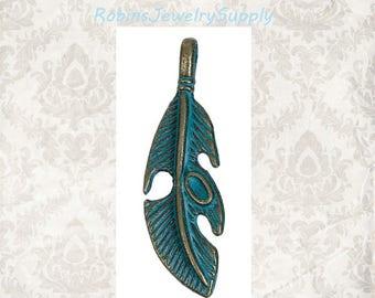 5 pcs - Feather Pendants - Antique Bronze - Patina Feathers - Patina Jewelry - Feather Pendant - Feather Jewelry - Navajo Feathers - P0016