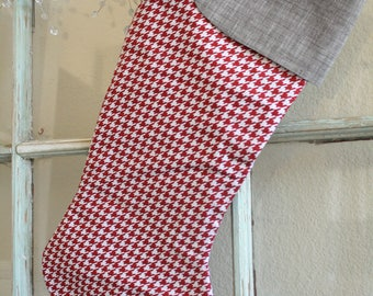 Red Houndstooth Stocking #15