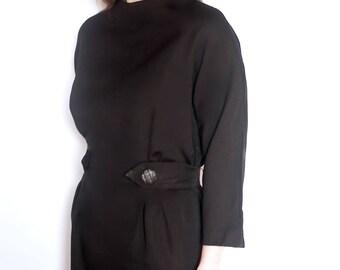 Vintage 1970s black dress  (UK 12)