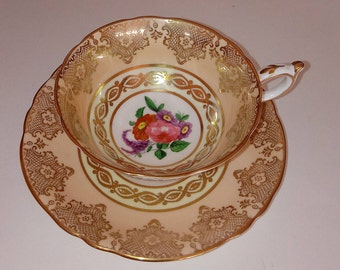 Paragon Teacup - Footed Paragon Teacup - Peach and Gold - Paragon Floral Bone China -  Double Warrant - Gold Lace  - By Appointment