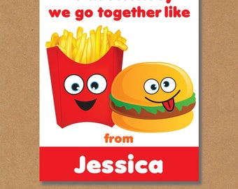 Funny Kids Valentines, Printable Cards, Valentines Day Cards for Kids, Printable Valentines, Personalized Valentines, Burger and Fries