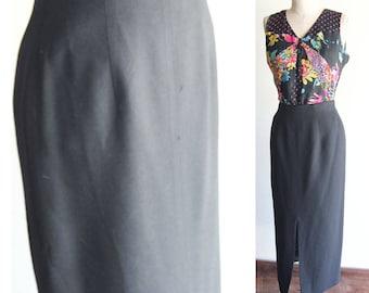 80s Rena Rowan for Saville  Black Wool Midi Skirt Size 6