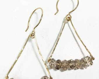 Smokey Quartz Hammered Gold Filled Triangle Dangle Drop Earrings, Hammered Triangle Earrings, Smokey Quartz Earrings, Geometric Earrings