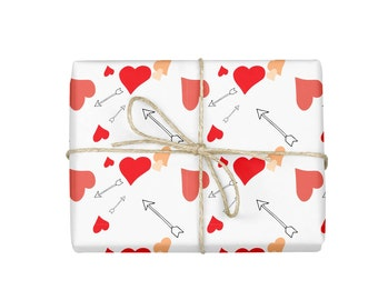 Wrapping Paper, Valentine's Day Wrapping Paper, Arrow Wrapping Paper, Hearts Wrapping paper, Bachelorette Gift Wrap, Wrapping Paper Sheet