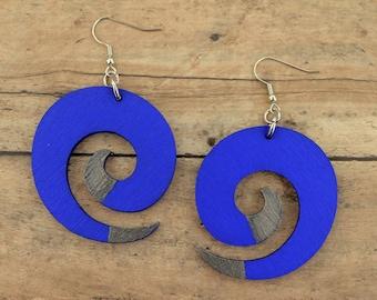 Hand Painted Swirl Shaped Wood Earrings