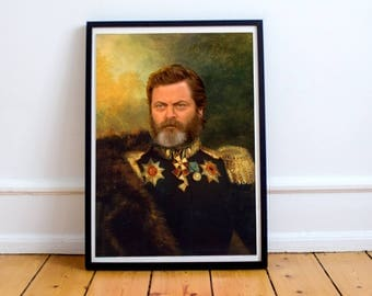 Nick Offerman Classical Painting Photoshop Poster 5x7 8x10 12x16 13x19 18 x 24