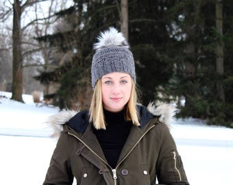 Charcoal Grey Textured Beanie with Faux Fur Pom // Slouchy Pom Beanie // Winter Hat // Gift for Her