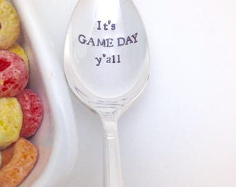 It's GAME DAY y'all!  Handstamped vintage spoon