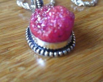 Pink Druzy Silver Necklace