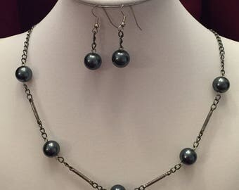 Slate Gray Beaded Necklace and Earring Set