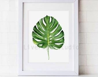 Monstera Watercolor Plant Art Print, Green Watercolor Painting, Leaf Botanical Poster, Tropical Leaf Watercolor Painting