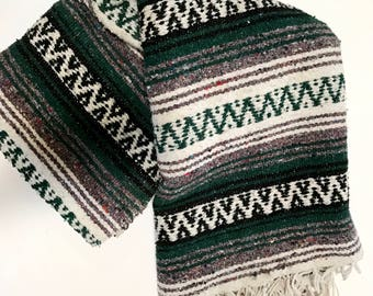 Vintage Mexican Blanket- Green, Gray, Black & White Falsa Blanket- Bohemian Home Decor