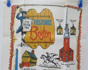 Vintage 100% Linen Tea / Dish Towel Historic Boston, Home of Freedom Trail, Unused, Kitchen Decor, Wall Hanging, Kitchen Display, by Stevens