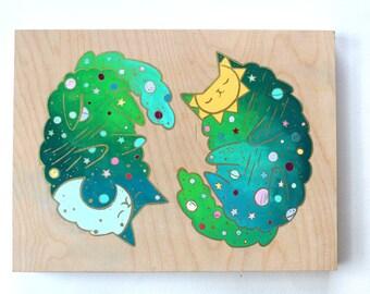Wood Block Painting - Galaxy Cats (Green)