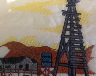 Windmill embroidered flour sack dish towel