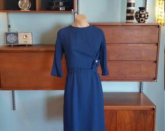 60s Blue Dress. 1960's Mad Men Style Secretary Blue Dress. Rhinestone.  Midi Length. 3/4 length sleeve. Size medium.