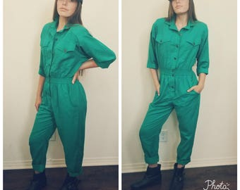 80's Green Teal Jumpsuit. Onesie. Cotton. Romper. One piece. Button Front. Pockets. Size small.