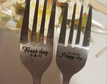 Wedding CAKE forks, Engraved Forks, Wedding Gift, Personalized Fork Set, Engraved Wedding Flatware, Wedding Forks