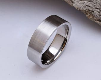 Mens wedding band with straight profile and brushed finish, mens titanium wedding rings, titanium ring mens, mens titanium wedding band mens