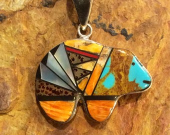 Native American Jewelry Sterling Silver Zuni Bear Spiny Oyster, Turquoise, Mother of Pearl Inlay Pendant