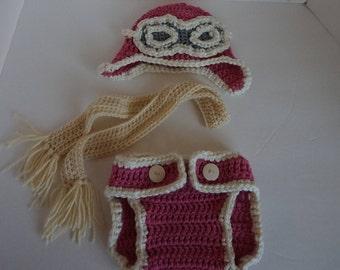 Girl Aviator Set, Aviator Hat, Baby Aviator Set,