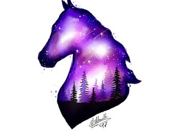 Galaxy Horse & Forest (watercolor, digital download)
