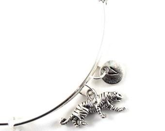 TIGER bracelet, silver tiger bangle, tiger charm, initial bracelet, adjustable bangle, personalized jewelry, swarovski birthstone, gift