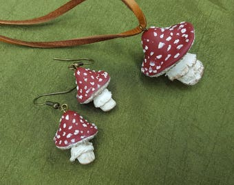 Toadstool Jewelry Set, Necklace and Earrings