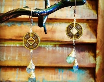 Labradorite and Coin Earrings
