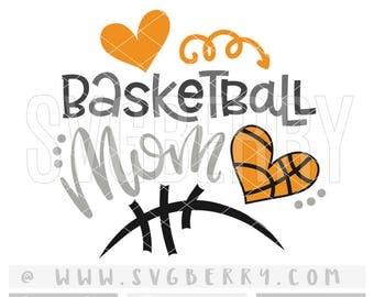Basketball Mom SVG / Basketball Mom Shirt Tshirt / Basketball Heart Iron On / Basketball Fan Shirt / Gifts For Mom Applique Cut Files / Bo