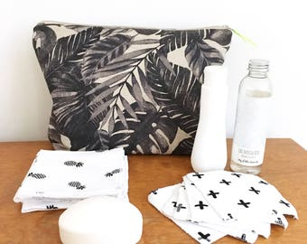 Tropical pouch - tropical Kit - toiletry bag tropical - tropical - exotic clutch - Palm tree clutch bag