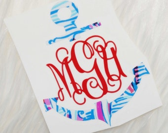 Lilly Pulitzer Inspired Anchor Vinyl Monogram Decal