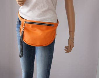 LEATHER FANNY PACK, Large  Fanny Pack, Fanny Pack Leather, Hip Bag, Leather Pouch, Belt bag, Orange Fanny Pack, Leather Woman Bag, No 21