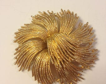 """Vintage Monet Signed Designer Brooch, """"Cordelia"""" Twisted Wire Like Strands with Textured Metal in Cascading Sections Gold Tone Finish 1960's"""