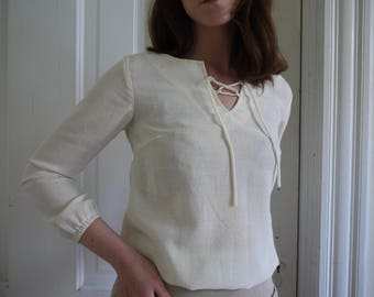 70's  Ivory Linen Lace Up Blouse | White Summer Blouse | Lace Up Neck Line | Size Extra Small