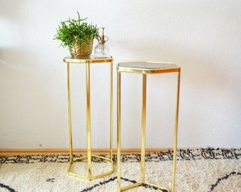 Vintage brass & glass coffee table gold side table brass glass smoked glass hexagon hexagonal plant flower column was