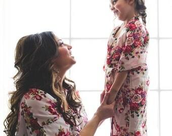 Sale! Bridesmaid Robes -Bridesmaid Gifts - Flower Girl Robe - Child Robe - Cotton Floral Robe - Bridal Robe - Flower Girl Dress