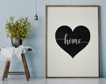 Home Heart Print, Home Printable, Home Art Print, Heart Art Print, Home Sign, Printable Art, Instant Download