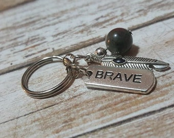 Intention Gemstone Keychains - Brave - Faith - Fearless - Red Jasper - BloodStone - Feather - Cross - Amythest - Selflove Gemstone Keychains