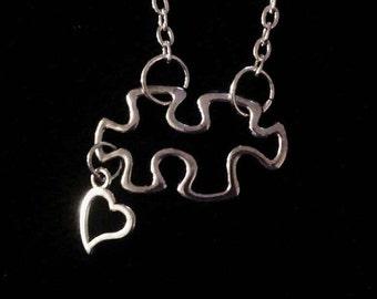 autism awareness puzzle piece charm necklace