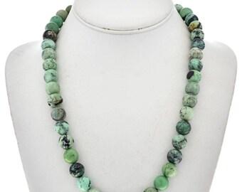 Green Chrysotine Navajo Necklace Beaded Single Strand