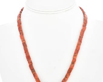 Navajo Apple Coral Beaded Necklace Single Strand Jewelry