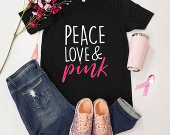 Peace Love Pink V-Neck Graphic Tee...Breast Cancer Awareness Shirt..Relay For Life..Pinktober